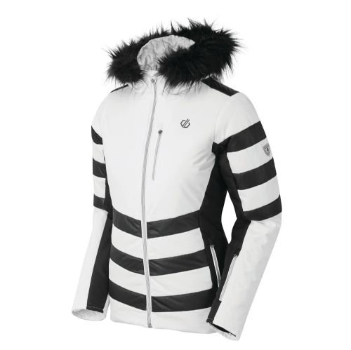 Women's Snowglow Faux Fur Trim Luxe Ski Jacket White/Black